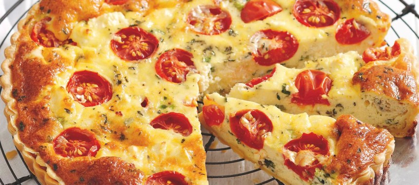 Tomato, Olive, and Rosemary Quiche